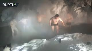 Arctic Bath: Chinese tourists take freezing -50°C plunge in Russian village