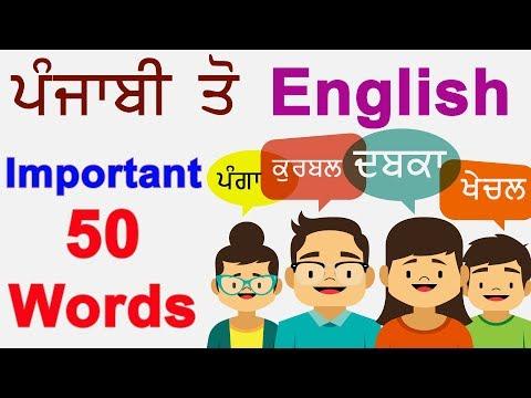 Punjabi To English Vocabulary || 50 Important Words