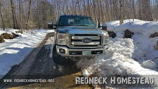Getting the Truck Out of a Ditch With a Winch And Pulley | Redneck Homestead