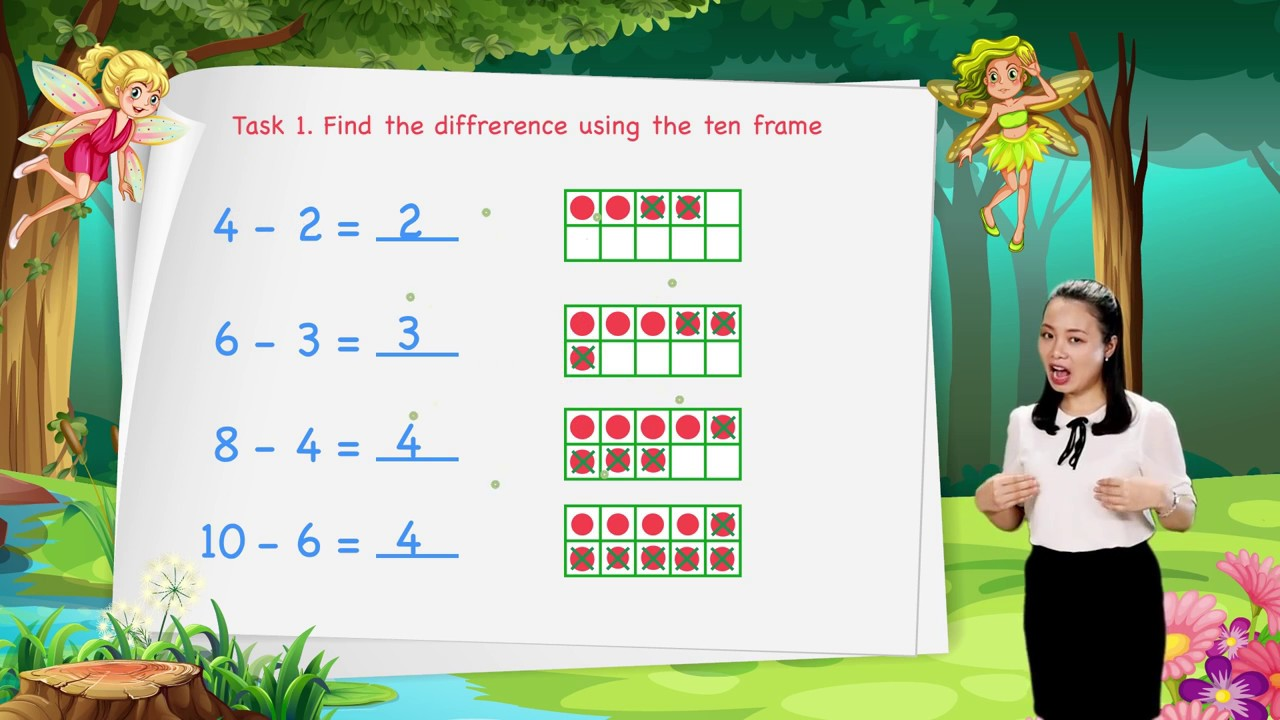 Math For Kids - Lesson 26. Subtraction Using the Ten Frame  | Kindergarten image
