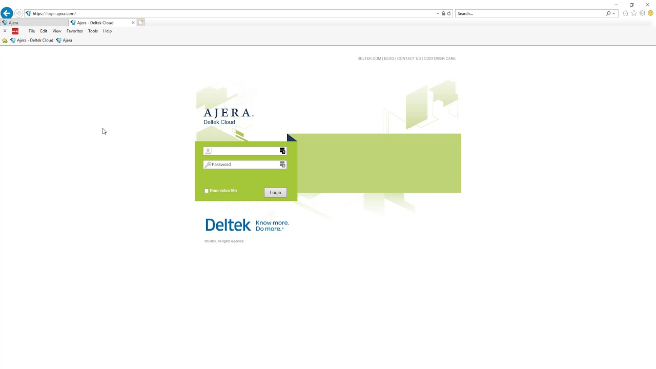 Login URLs - Deltek Ajera New User Guide