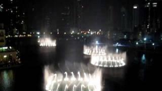 2009/10/18 Dubai Water Fontaine at Burj Dubai / Mall of Dubai , filmed from TGI Fridays 5th