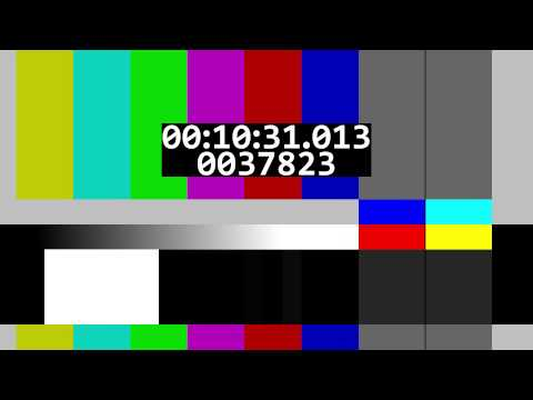 Scrolling color bars with time/frame counters and a test tone (revision)