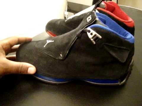 6bd6f2cae88a27 Air Jordan 18 Battle  Black Royal Blue XVIII Vs. Black Red XVIII ...