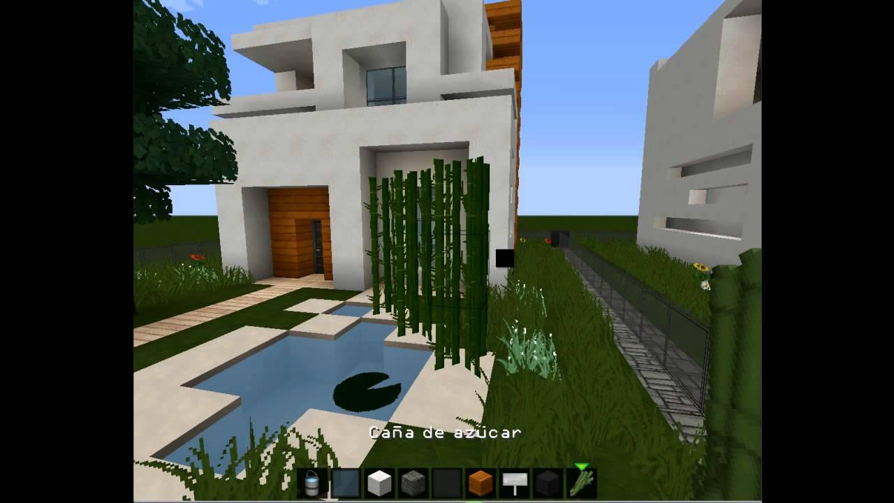 Minecraft como hacer el jard n de la casa moderna 10x10 for Fotos de jardines de casas modernas