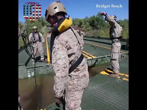 US Marines Place A Temporary Bridge by om goswami