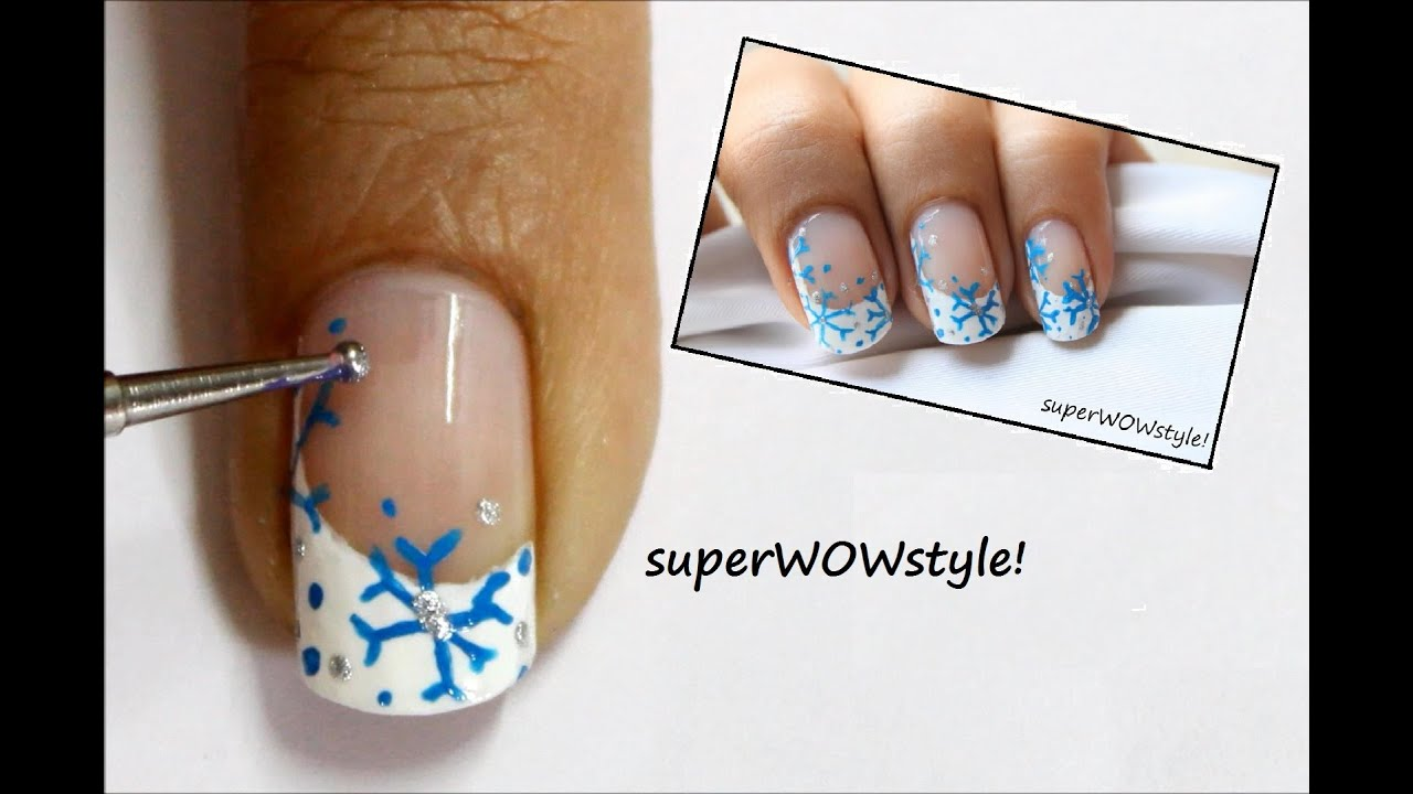 How to draw a snowflake on nails: instruction 50