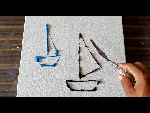 Simple & Easy Abstract Painting For Beginners / Sail Boats / Demostration/Daily Art Therapy/Day #66