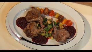 Седло барашка с рататуем и вишневым демигласом | Мясо. От филе до фарша