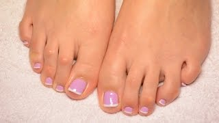Lavender pedicure french gelish nails