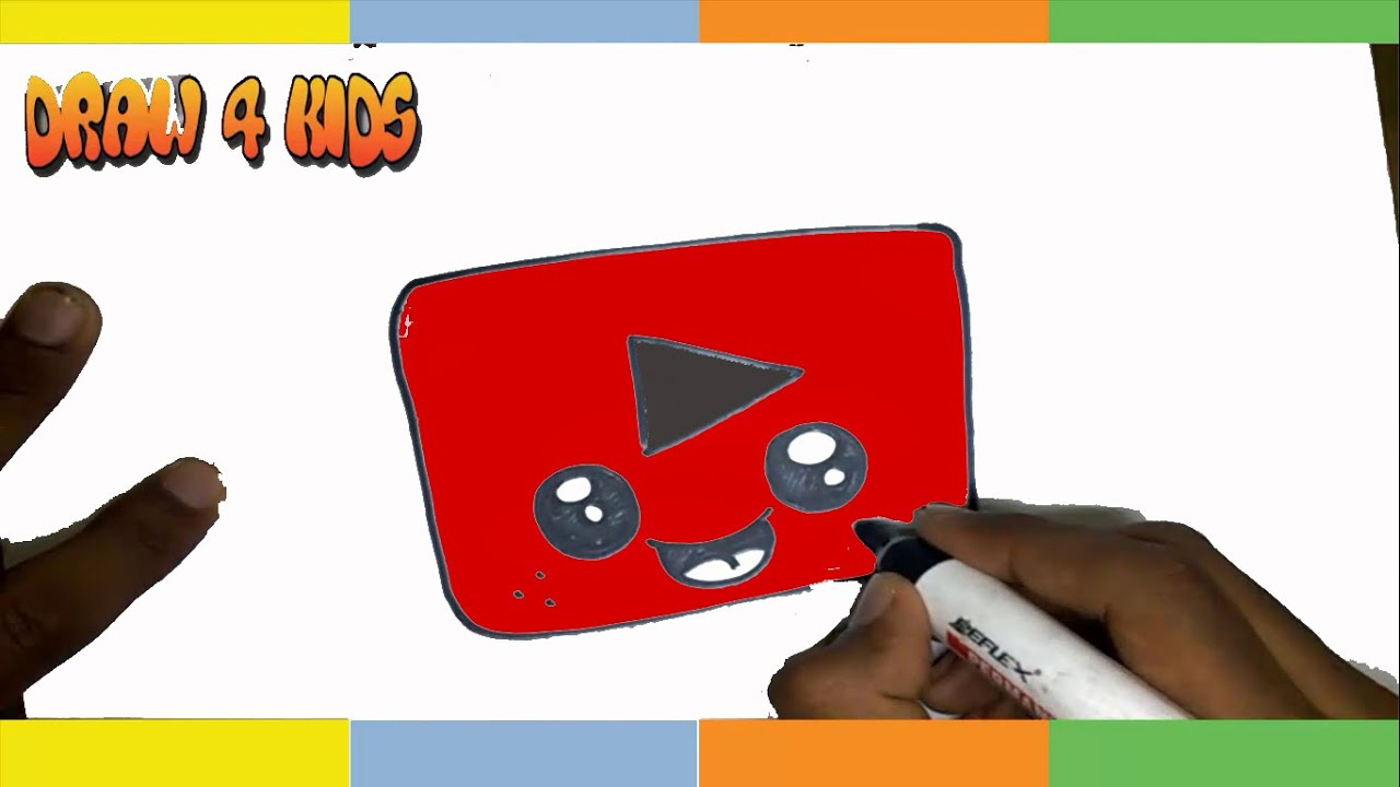 How To Draw A Youtube Logo Cute, How To Draw Cute Youtube Logo Step By Step  For Kids Easy Tutorial