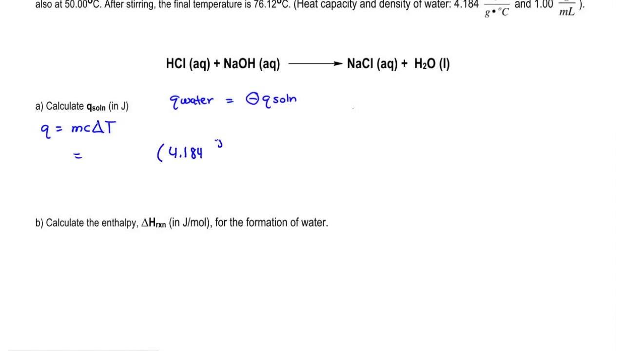 calculating the heat of the solution - youtube