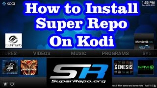 How to Install SuperRepo (Add-ons Repository ) on Kodi XBMC  *** free movies,shows,live tv ***