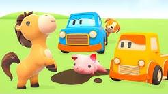 Tiere Lernen mit den Schlauen Autos - Kinder Cartoon auf Deutsch
