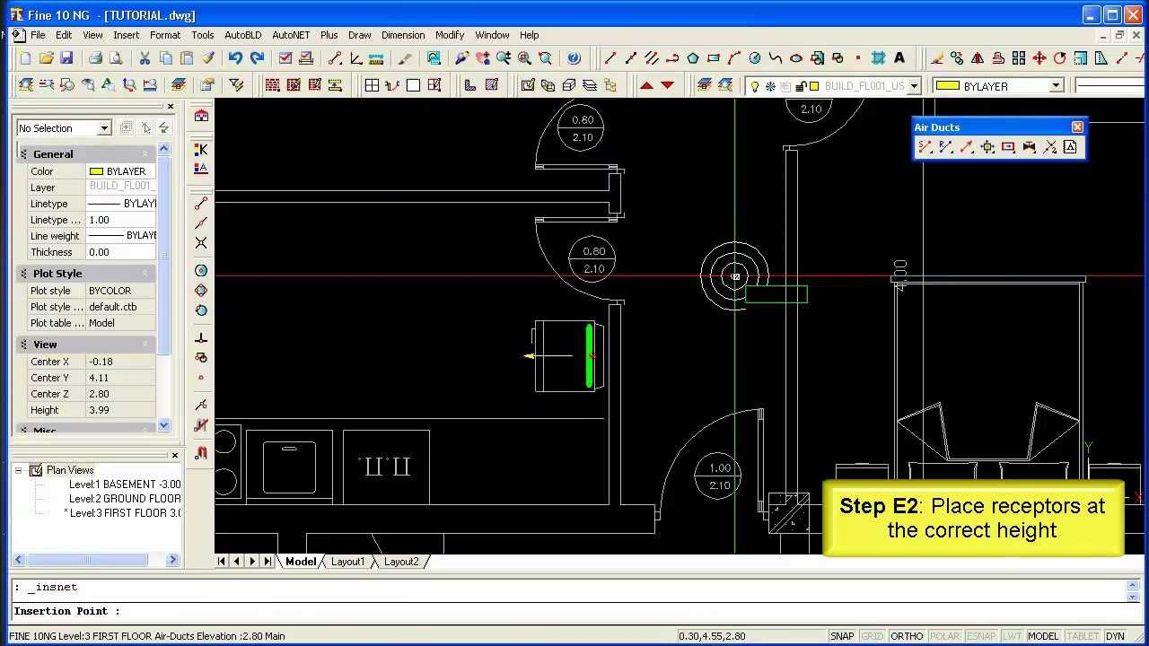 4m Hvac V10 Step 5 Working With Autonet Network Model Airducts Drawing Dwg