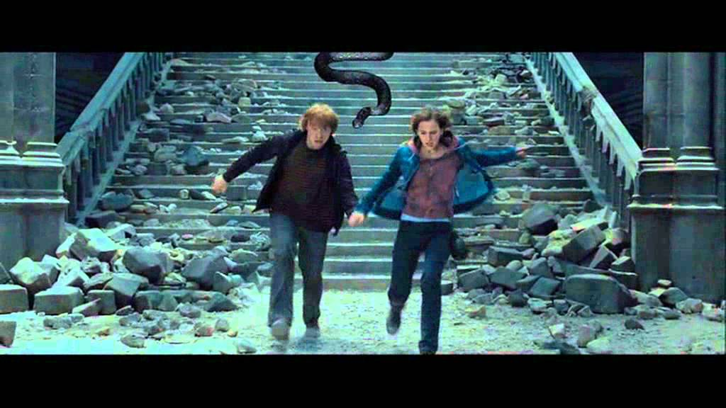 Ron and Hermione running from Nagini