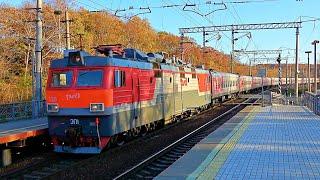 RailWay. Locomotive EP1 with passenger train/ Электровоз ЭП1 с пассажирским поездом