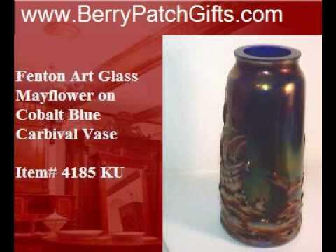 Fenton Art Glass Mayflower on Cobalt Blue Carnival Vase