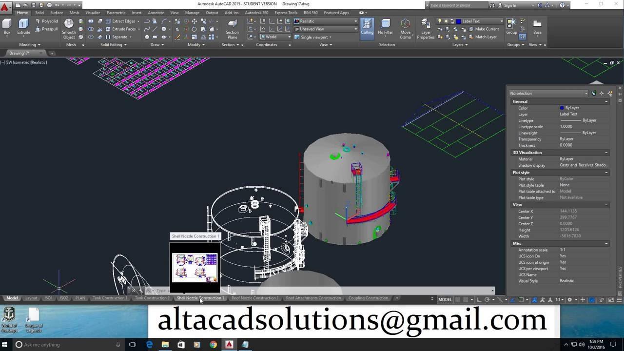 Autocad 3d Vertical Storage Tank Program Youtube