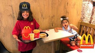 Kids pretend play working at McDonald's with surprise toys part 2