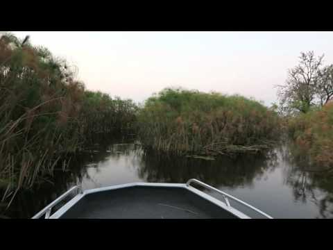Motor boat on water near sunset, Vumbura Plains, Botswana, 2015-10-02