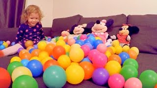 Little Cute Girl Playing Home with Colored Balls / Learn Colors with Colored Balls / Kids Video /
