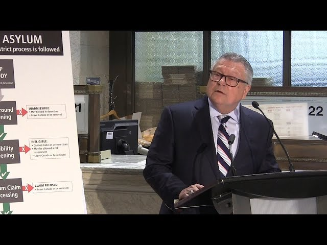 """Public Safety Minister Ralph Goodale issued a firm reminder to border crossers on Monday, that seeking asylum in Canada is """"not a shortcut"""" to bypass regular immigration procedures. (The Canadian Press)"""