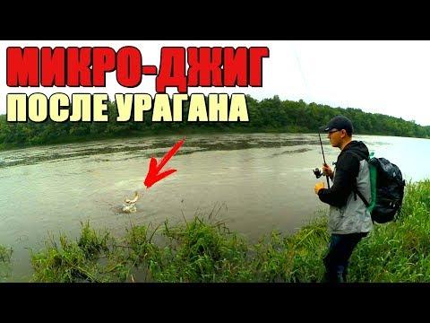 МИКРО-ДЖИГ на реке - ловля окуня и щуки на течении на лёгкие веса! Ливень и испорченная рыбалка!