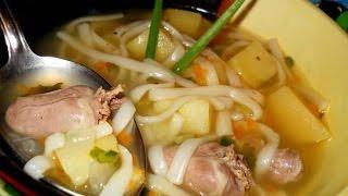 Суп из куриных потрошков с лапшой  Украинская кухня