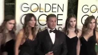 GOLDEN GLOBE 2017 - Sylvester Stallone Al Red Carpet Con La Famiglia