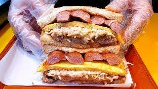 재료 가득 대왕 토스트, 유명한 떡갈비 소시지 토스트, Amazing Toast Master, Giant toast, meat egg toast, Korean street food