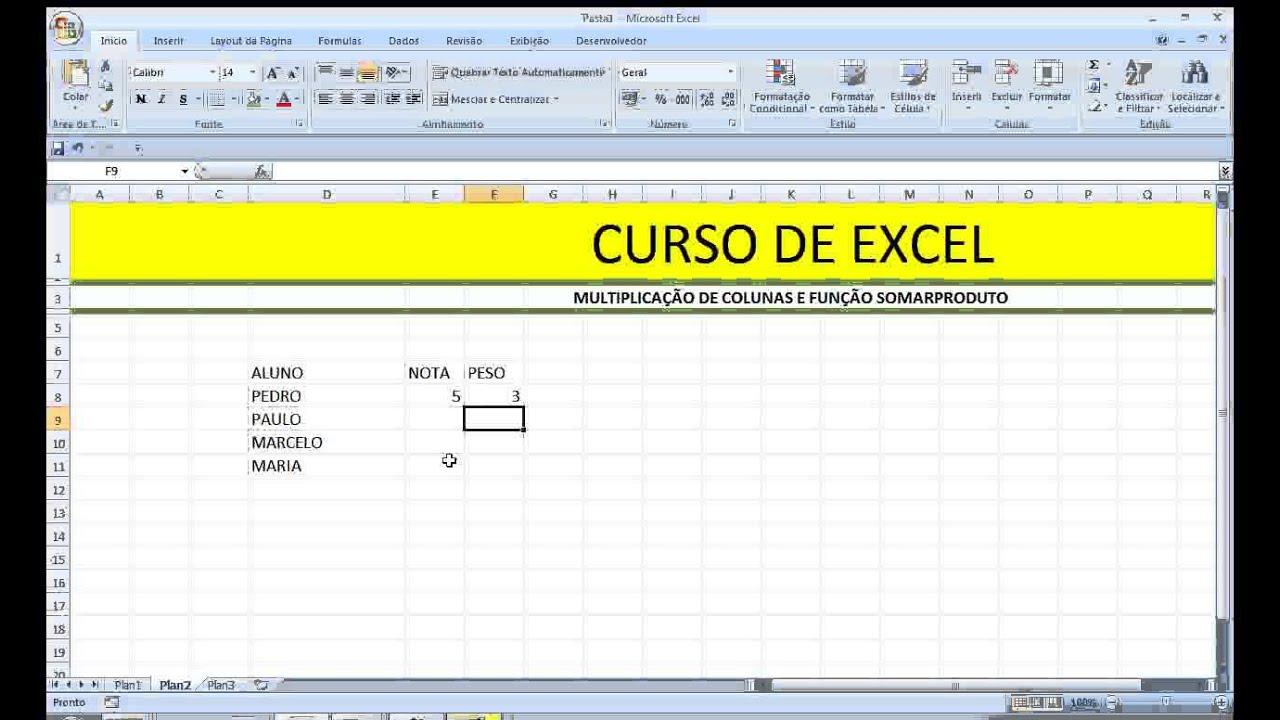 Excel Função SOMARPRODUTO de Colunas Planilha Fórmula equação soma e  produto Concurso
