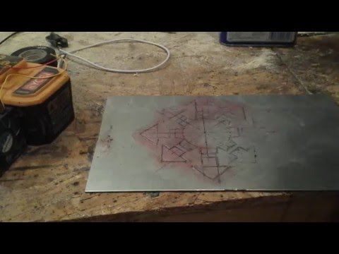 Easy Etching metal with a battery and vinegar salt solu