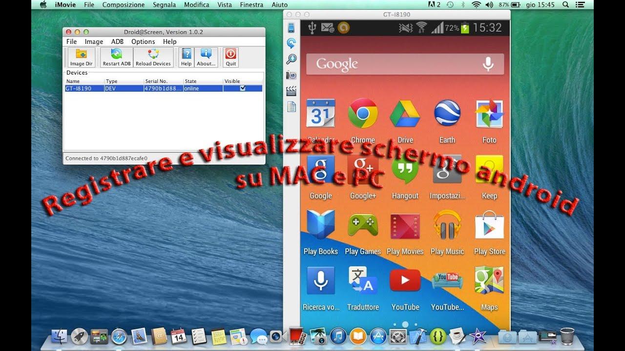 Registrare e visualizzare schermo anroid su MAC e PC (No Root)