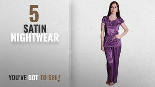 Top 10 Satin Nightwear [2018]: Senslife Soft & Smooth Satin Solid Nightwear Cap Sleeve Night Suit