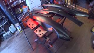 Vid 4 Direct Bikes 50cc Moped Repairs-Spraying The Panels With Basecoat And Clearcoat