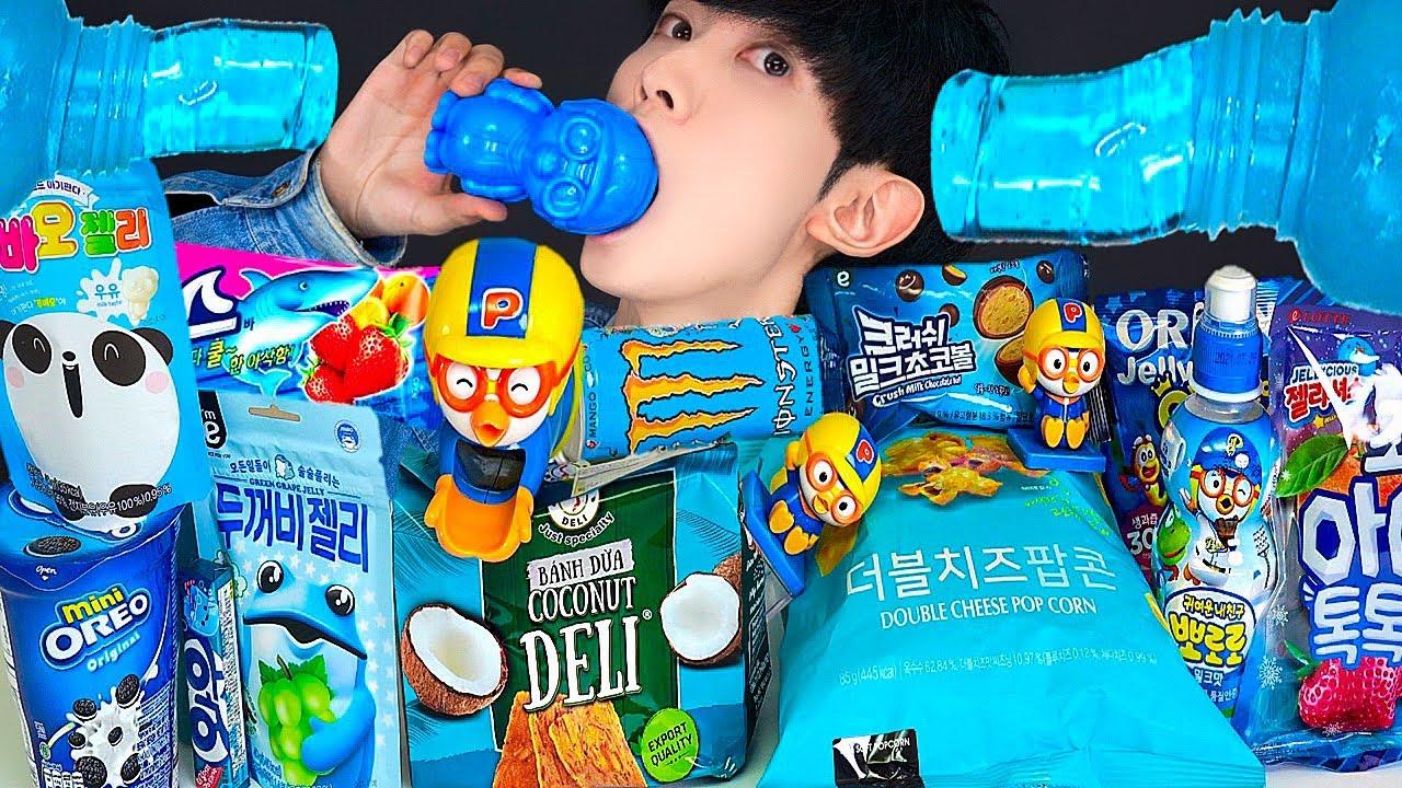 ASMR ICE CREAM BLUE PORORO JELLY RECIPE PARTY 직접만든 블루 뽀로로 편의점 꿀젤리 먹방 DESSERTS MUKBANG EATING SOUNDS