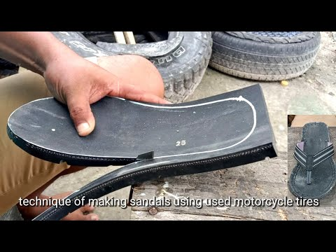 technique of making sandals using used motorcycle tires