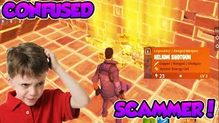 CONFUSED Scammer Gets Scammed For Mythic Weapons! In Fortnite Save The World Pve - EazyDrop