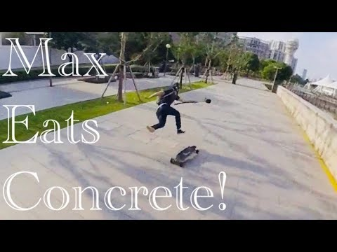 Electric Skateboard Hard Wipe Out in Shanghai China