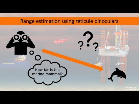 Marine mammal range estimation using reticule binoculars