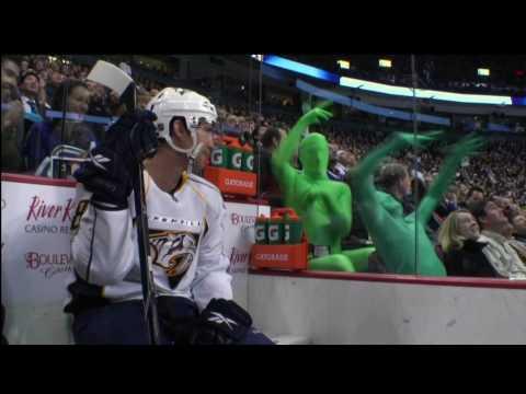 The Green Men at the Canucks Game vs the Predators