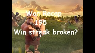 Clash of Clans War Recap 195 - Peanutz - Win streak broken? :(