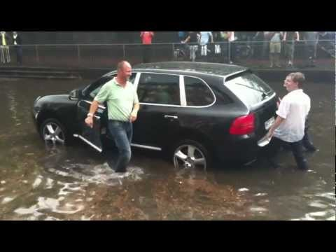 Porsche Cayenne stuck in water