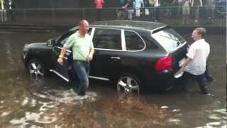 Porsche Cayenne stuck in water