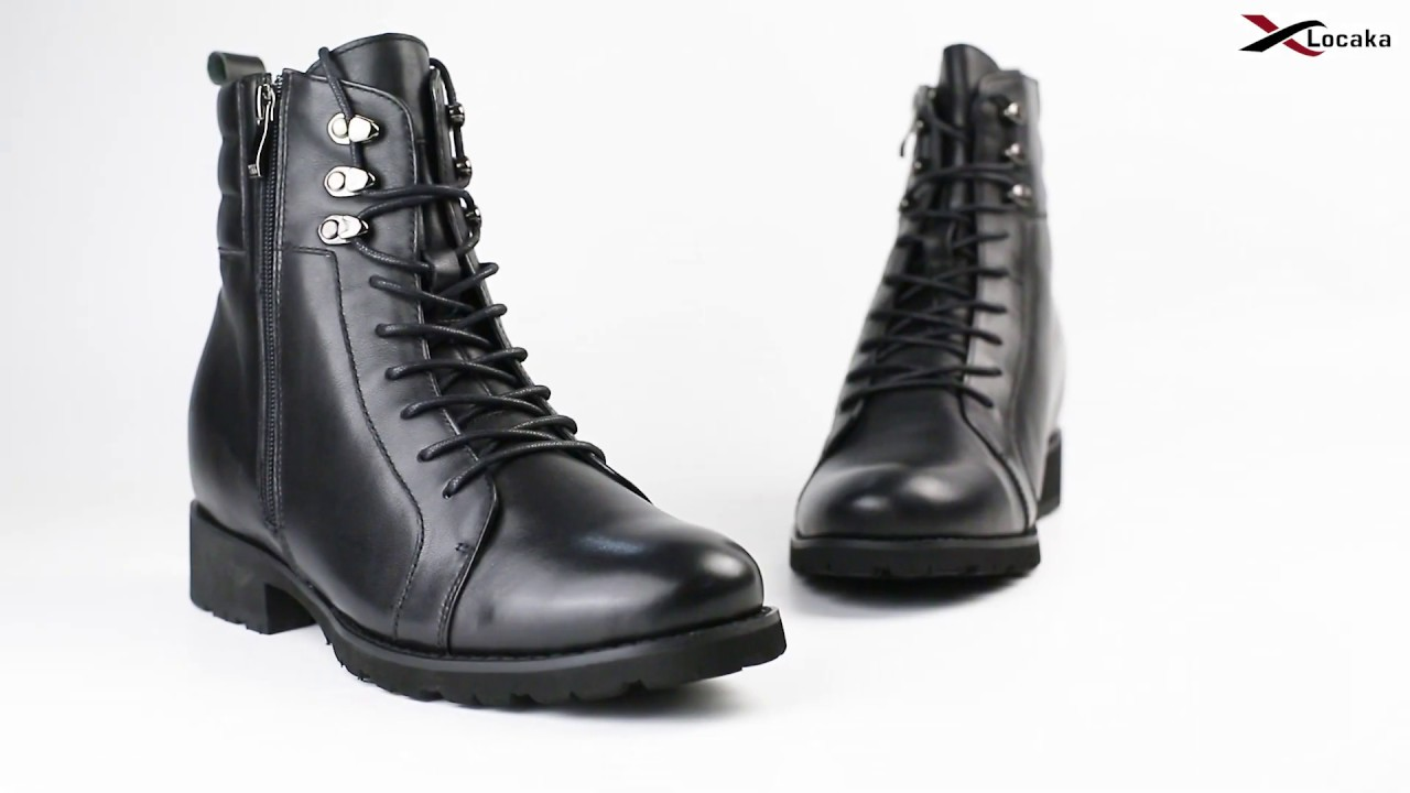 0772d02adbde3 LOCAKA|Hidden High Heel Black Leather Men Elevator Biking Boots Height  Increasing