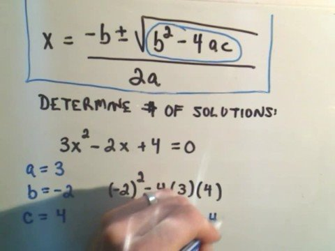 Using the Discriminant for Quadratic Equations (solutions ... on