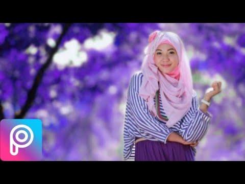 Cara mengedit foto background ungu di picsart - YouTube