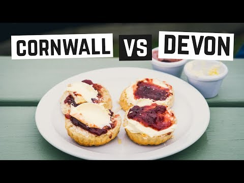 English Food - Cream Tea CORNWALL VS DEVON! + Minack Theater - Cornwall, England