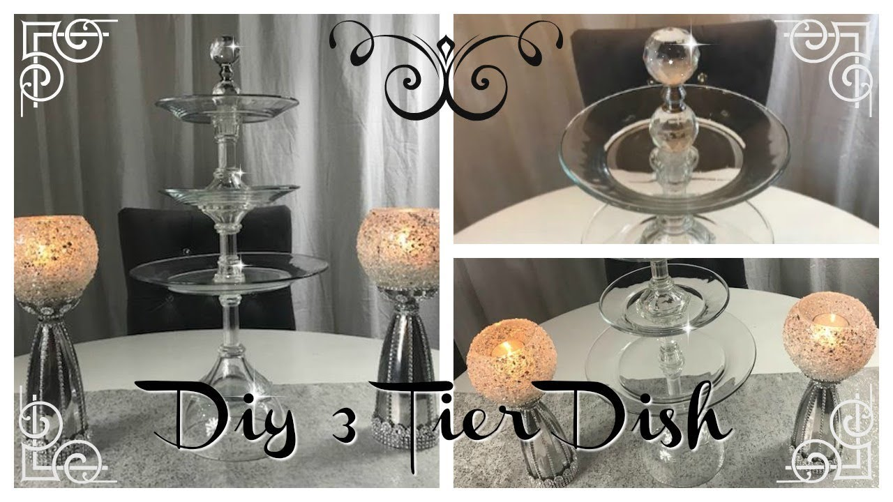 Wonderful DIY - 3 TIER CLEAR SERVING DISH/TRAY - DOLLAR TREE - GOODWILL  ZF02